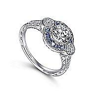 Fortune Platinum Round Halo Engagement Ring angle 3