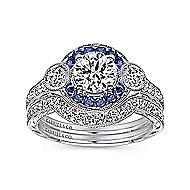 Fortune Platinum Round Halo Engagement Ring angle 4