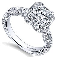Frederica 14k White Gold Princess Cut Halo Engagement Ring angle 3