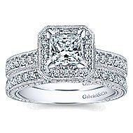 Frederica 14k White Gold Princess Cut Halo Engagement Ring angle 4