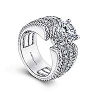 Freedom 14k White Gold Round Straight Engagement Ring angle 3