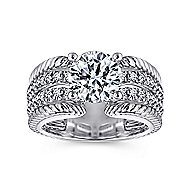 Freedom 14k White Gold Round Straight Engagement Ring