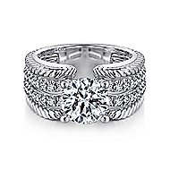 Freedom 14k White Gold Round Wide Band Engagement Ring