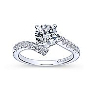 Freya 14k White Gold Round Bypass Engagement Ring angle 5