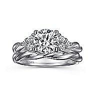 Frida 14k White Gold Round Twisted Engagement Ring angle 4