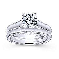 Gale 14k White Gold Round Solitaire Engagement Ring angle 4