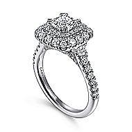 Gardenia 14k White Gold Cushion Cut Double Halo Engagement Ring