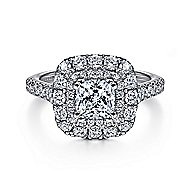 Gardenia 14k White Gold Cushion Cut Halo Engagement Ring angle 1