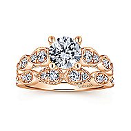 Garland 14k Rose Gold Round Straight Engagement Ring