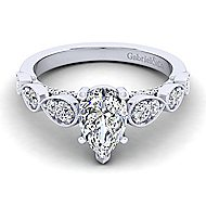 Garland 14k White Gold Pear Shape Straight Engagement Ring angle 1
