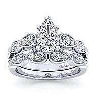 Garland 14k White Gold Pear Shape Straight Engagement Ring angle 4