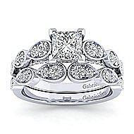 Garland 14k White Gold Princess Cut Straight Engagement Ring angle 4