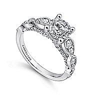 Garland 14k White Gold Round Straight Engagement Ring