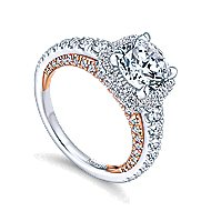 Gelato 18k White And Rose Gold Round Halo Engagement Ring angle 3