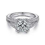Genesis 14k White Gold Cushion Cut Split Shank Engagement Ring angle 1