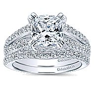 Genesis 14k White Gold Cushion Cut Split Shank Engagement Ring angle 4