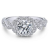 Geneva 14k White Gold Round Halo Engagement Ring angle 1