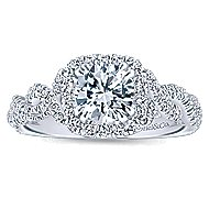 Geneva 14k White Gold Round Halo Engagement Ring angle 5