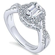 Georgette 14k White Gold Emerald Cut Halo Engagement Ring angle 3