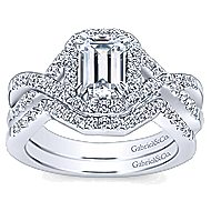 Georgette 14k White Gold Emerald Cut Halo Engagement Ring angle 4
