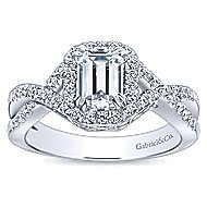 Georgette 14k White Gold Emerald Cut Halo Engagement Ring angle 5