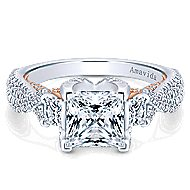 Gianni 18k White And Rose Gold Princess Cut 3 Stones Engagement Ring angle 1