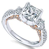 Gianni 18k White And Rose Gold Princess Cut 3 Stones Engagement Ring angle 3
