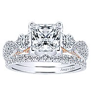 Gianni 18k White And Rose Gold Princess Cut 3 Stones Engagement Ring angle 4