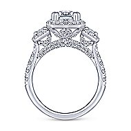 Gibson 18k White Gold Emerald Cut 3 Stones Halo Engagement Ring angle 2