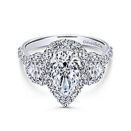 Gibson 18k White Gold Pear Shape 3 Stones Halo Engagement Ring angle 1
