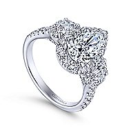 Gibson 18k White Gold Pear Shape 3 Stones Halo Engagement Ring angle 3