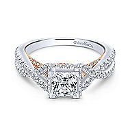 Gisela 14k White And Rose Gold Princess Cut Twisted Engagement Ring