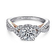 Gisela 14k White And Rose Gold Round Twisted Engagement Ring angle 1