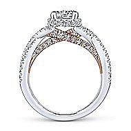 Gisela 14k White And Rose Gold Round Twisted Engagement Ring angle 2