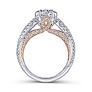 Glory 18k White And Rose Gold Round Twisted Engagement Ring angle 2