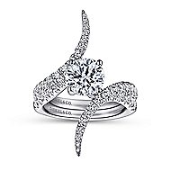 Glory 18k White Gold Round Bypass Engagement Ring angle 4