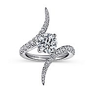 Glory 18k White Gold Round Bypass Engagement Ring angle 5