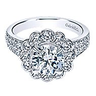 Grace 18k White Gold Round Halo Engagement Ring angle 1