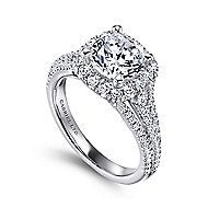 Gramercy 18k White Gold Round Halo Engagement Ring angle 3