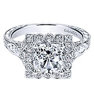 Grand 14k White Gold Cushion Cut Halo Engagement Ring angle 1
