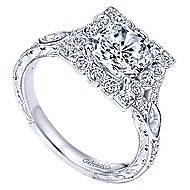 Grand 14k White Gold Cushion Cut Halo Engagement Ring angle 3