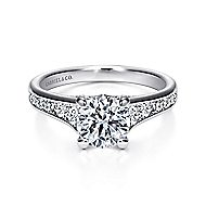 Guinevere 18k White Gold Round Straight Engagement Ring angle 1