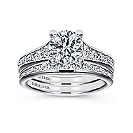 Guinevere 18k White Gold Round Straight Engagement Ring angle 4