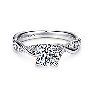 Gwen 18k White Gold Round Twisted Engagement Ring angle 1