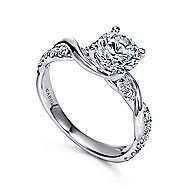 Gwen 18k White Gold Round Twisted Engagement Ring angle 3