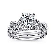 Gwen 18k White Gold Round Twisted Engagement Ring angle 4