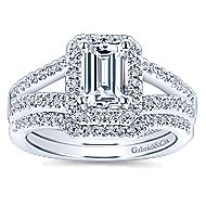 Hadley 14k White Gold Emerald Cut Halo Engagement Ring angle 4