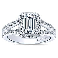 Hadley 14k White Gold Emerald Cut Halo Engagement Ring angle 5