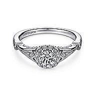 Hale 14k White Gold Round Halo Engagement Ring angle 1