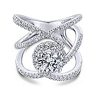 Halley 18k White Gold Round Halo Engagement Ring angle 1